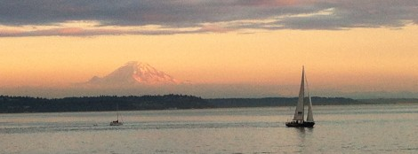 View of Mt. Rainier from Ferry