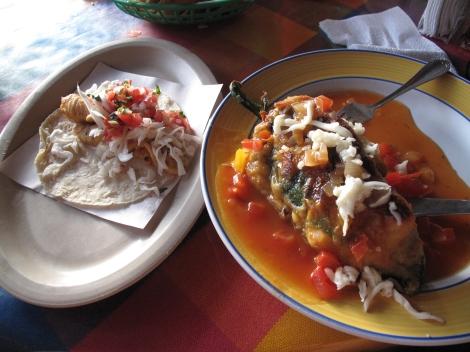 Chili Reyano y Taco de Pescado