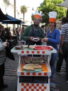 No food stands in the market, entrepreneurial  bakers wheel around their goods.